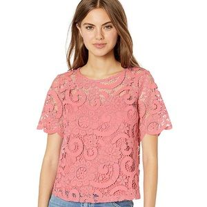 Nanette Lepore Sheer Pink Lace Top